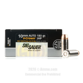 Image For 20 Rounds Of 180 Grain JHP Boxer Nickel-Plated Brass 10mm SIG Ammunition