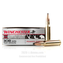 Image For 20 Rounds Of 150 Grain PP Boxer Brass 308 Win Winchester Ammunition