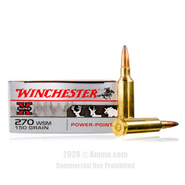 Image For 20 Rounds Of 150 Grain PP Boxer Brass 270 Win Short Mag Winchester Ammunition