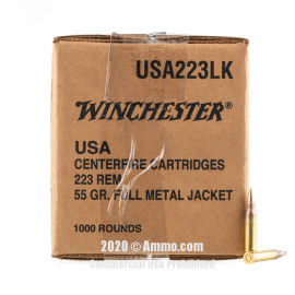 Image For 1000 Rounds Of 55 Grain FMJ Boxer Brass 223 Rem Winchester Ammunition