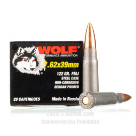 Image For 20 Rounds Of 122 Grain FMJ Berdan Steel 7.62x39 Wolf Ammunition