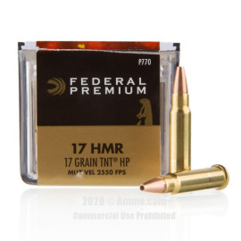 Image For 50 Rounds Of 17 Grain JHP Rimfire Brass 17 HMR Federal Ammunition