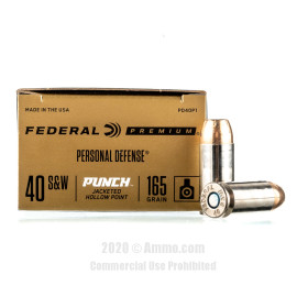 Image For 20 Rounds Of 165 Grain JHP Boxer Nickel-Plated Brass 40 Cal Federal Ammunition