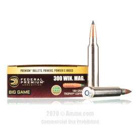 Image For 20 Rounds Of 180 Grain Polymer Tipped Boxer Nickel-Plated Brass 300 Win Mag Federal Ammunition