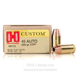 Image For 200 Rounds Of 200 Grain JHP Boxer Brass 45 Auto Hornady Ammunition
