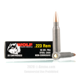 Image For 1000 Rounds Of 55 Grain FMJ Berdan Steel 223 Rem Wolf Ammunition