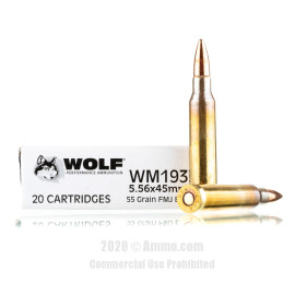 Image For 1000 Rounds Of 55 Grain FMJ Boxer Brass 5.56x45 Wolf Ammunition
