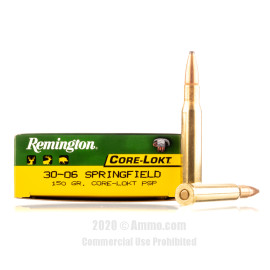 Image For 20 Rounds Of 150 Grain PSP Boxer Brass 30-06 Remington Ammunition