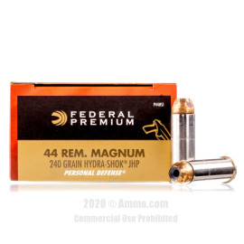 Image For 20 Rounds Of 240 Grain JHP Boxer Nickel-Plated Brass 44 Magnum Federal Ammunition