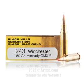 Image For 20 Rounds Of 80 Grain Polymer Tipped Boxer Brass 243 Win Black Hills Ammunition Ammunition
