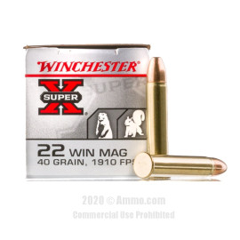 Image For 50 Rounds Of 40 Grain FMJ Rimfire Brass 22 WMR Winchester Ammunition