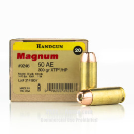 Image For 20 Rounds Of 300 Grain JHP Boxer Brass 50 Action Express Magnum Research Ammunition