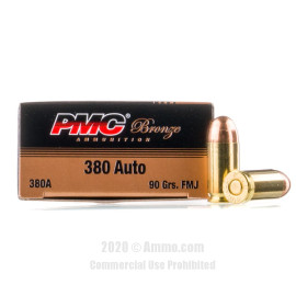 Image For 50 Rounds Of 90 Grain FMJ Boxer Brass 380 ACP PMC Ammunition