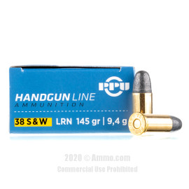 Image For 50 Rounds Of 145 Grain LRN Boxer Brass 38 S&W Prvi Partizan Ammunition