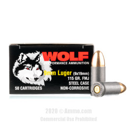 Image For 1000 Rounds Of 115 Grain FMJ Berdan Steel 9mm Wolf Ammunition