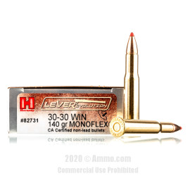 Image For 20 Rounds Of 140 Grain Polymer Tipped Boxer Brass 30-30 Hornady Ammunition