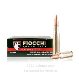 Image For 20 Rounds Of 168 Grain HPBT Boxer Brass 308 Win Fiocchi Ammunition