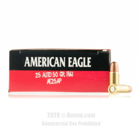 Image For 50 Rounds Of 50 Grain FMJ Boxer Brass 25 ACP Federal Ammunition