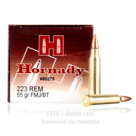 Image For 500 Rounds Of 55 Grain FMJ Boxer Brass 223 Rem Hornady Ammunition