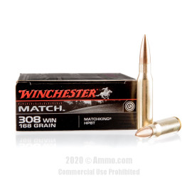 Image For 20 Rounds Of 168 Grain HPBT Boxer Brass 308 Win Winchester Ammunition