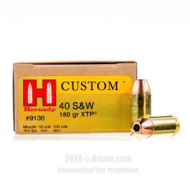 Image For 200 Rounds Of 180 Grain JHP Boxer Brass 40 Cal Hornady Ammunition