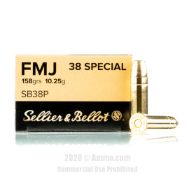 Image For 1000 Rounds Of 158 Grain FMJ Boxer Brass 38 Special Sellier and Bellot Ammunition