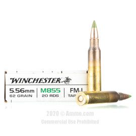 Image For 20 Rounds Of 62 Grain Penetrator Boxer Brass 5.56x45 Winchester Ammunition