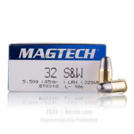 Image For 50 Rounds Of 85 Grain LRN Boxer Brass 32 S&W Magtech Ammunition