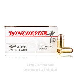 Image For 50 Rounds Of 71 Grain FMJ Boxer Brass 32 ACP Winchester Ammunition