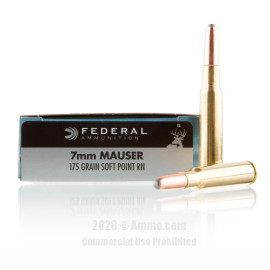 Image For 20 Rounds Of 175 Grain SP Boxer Brass 7x57mm Federal Ammunition