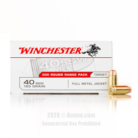 Image For 200 Rounds Of 165 Grain FMJ Boxer Brass 40 Cal Winchester Ammunition