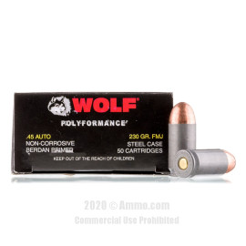 Image For 50 Rounds Of 230 Grain FMJ Berdan Steel 45 Auto Wolf Ammunition