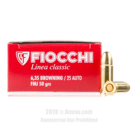 Image For 1000 Rounds Of 50 Grain FMJ Boxer Brass 25 ACP Fiocchi Ammunition