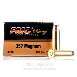 Image For 50 Rounds Of 158 Grain JSP Boxer Brass 357 Magnum PMC Ammunition