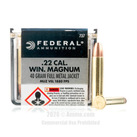 Image For 50 Rounds Of 40 Grain FMJ Rimfire Brass 22 WMR Federal Ammunition