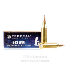 Image For 20 Rounds Of 80 Grain SP Boxer Brass 243 Win Federal Ammunition