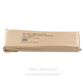 Image For 900 Rounds Of 115 Grain FMJ Boxer Brass 9mm PMC Ammunition