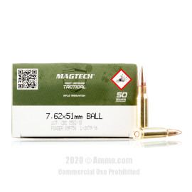 Image For 50 Rounds Of 147 Grain FMJ Boxer Brass 308 Win Magtech Ammunition