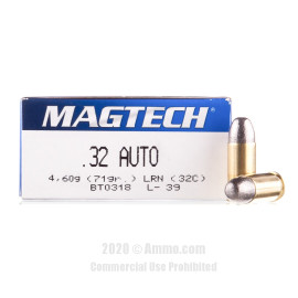 Image For 50 Rounds Of 71 Grain LRN Boxer Brass 32 ACP Magtech Ammunition