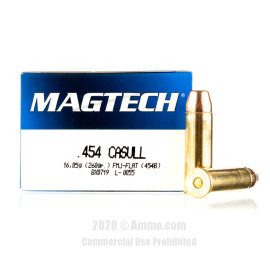 Image For 20 Rounds Of 260 Grain FMJ Boxer Brass 454 Casull Magtech Ammunition
