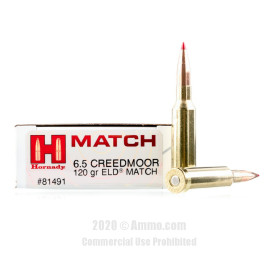 Image For 20 Rounds Of 120 Grain ELD Boxer Brass 6.5 Creedmoor Hornady Ammunition