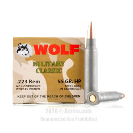 Image For 500 Rounds Of 55 Grain HP Berdan Steel 223 Rem Wolf Ammunition