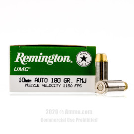Image For 500 Rounds Of 180 Grain FMJ Boxer Nickel-Plated Brass 10mm Remington Ammunition