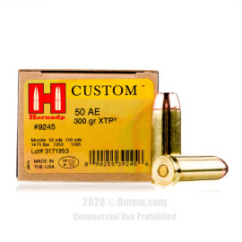 Image For 20 Rounds Of 300 Grain JHP Boxer Brass 50 Action Express Hornady Ammunition