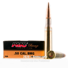 Image For 10 Rounds Of 660 Grain FMJ-BT Boxer Brass 50 BMG PMC Ammunition