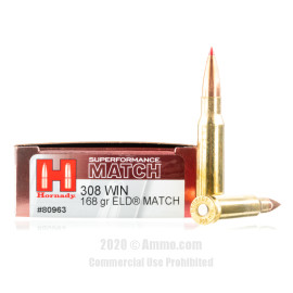 Image For 20 Rounds Of 168 Grain ELD Boxer Brass 308 Win Hornady Ammunition