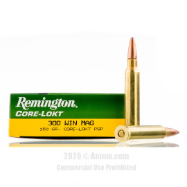 Image For 20 Rounds Of 150 Grain PSP Boxer Brass 300 Win Mag Remington Ammunition