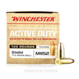 Image of Winchester Active Duty 9mm Ammo - 100 Rounds of 115 Grain FMJ Ammunition