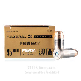Image of Federal Punch 45 Auto Ammo - 20 Rounds of 230 Grain JHP Ammunition