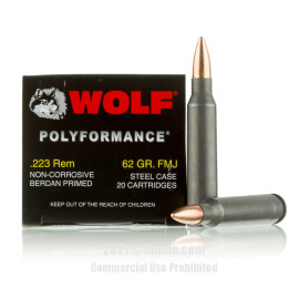 Image of Wolf 223 Rem Ammo - 500 Rounds of 62 Grain FMJ Ammunition